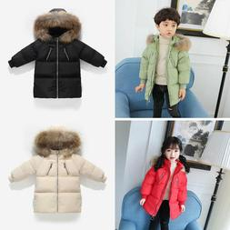 Kids Boys Girls Duck Down Coats Outerwear Fur Hooded Jackets