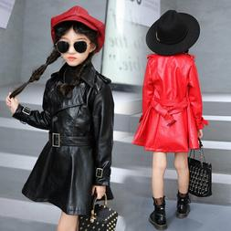 Casual Kids Girls PU Jackets Motorcycle Leather Wind Coat Lo