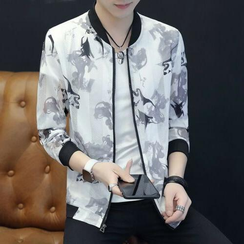 mens casual jackets hollow out floral printed