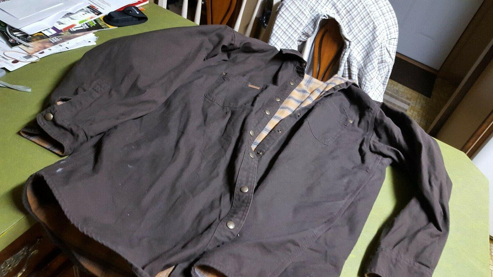 mens flannel lined canvas shirt jacket s296