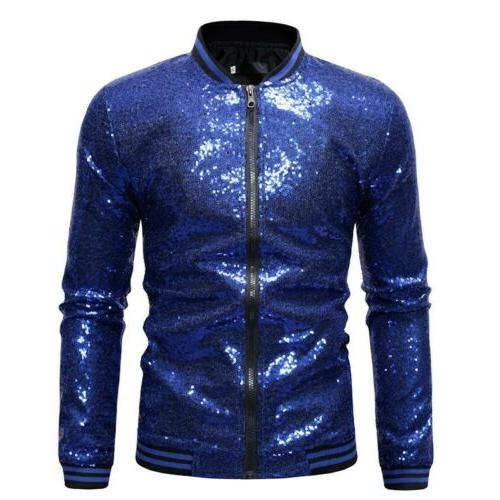 mens nightclub wear sequined sparkling jackets coats
