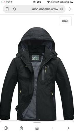Magcomsen Mens Outdoor Hooded Windproof Jacket Waterproof Bl