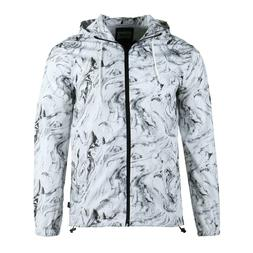Men's Breathable Outdoor Hand Pockets Hoodie Zip up Marble L