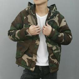 Men's Hooded Cotton Padded Outdoor Jacket Camouflage Cargo L