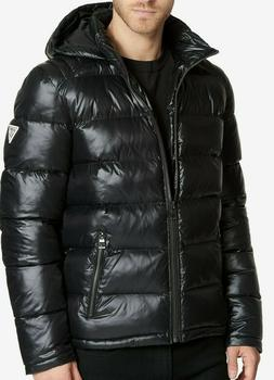 GUESS Men's Puffer Jacket Removable Hood - Black- NEW 100% O