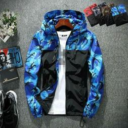 Mens Camouflage Hooded Slim Fitting Jackets Sporting Outdoor