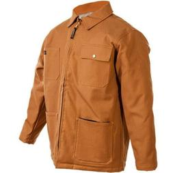 Mens Canvas Work Jacket Insulated Coat Fleece Pockets Duck W