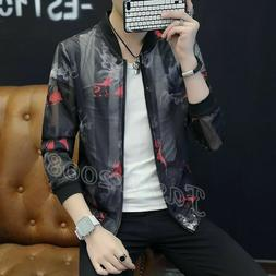 Mens Casual jackets Hollow out Floral printed Sunscreen outd