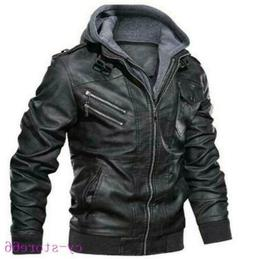 New Men's Leather Jacket Motorcycle Removable Hood Outdoor C