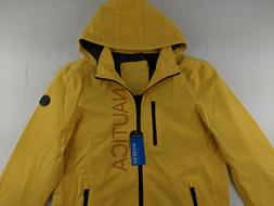 NEW Nautica S Yellow Windbreaker Jacket Stretch Hoodie Water