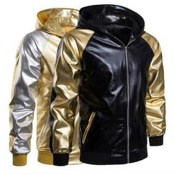Shiny Stitching Color Men Sport Jacket Outdoor Motorcycle Ho