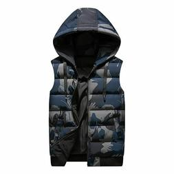 Winter Reversible Hooded Sleeveless Jackets For Men's Polyes